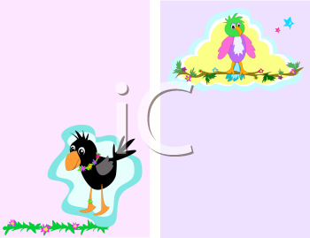 Royalty Free Clipart Image of a Crow and a Parrot