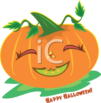 Royalty Free Clipart Image of a Halloween Greeting With a Pumpkin