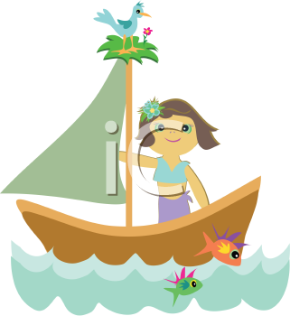 Royalty Free Clipart Image of a Cartoon Girl on a Sailboat