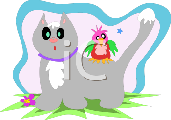 Royalty Free Clipart Image of a Cat and Bird
