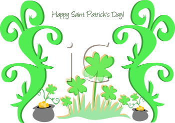 Royalty Free Clipart Image of a St. Patrick's Day Pot of Gold