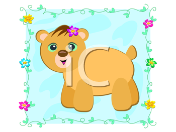 Royalty Free Clipart Image of a Bear With Flowers