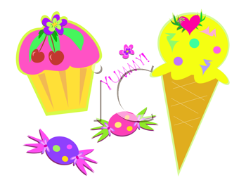 Royalty Free Clipart Image of an Ice Cream Cone, Cupcake and Candies