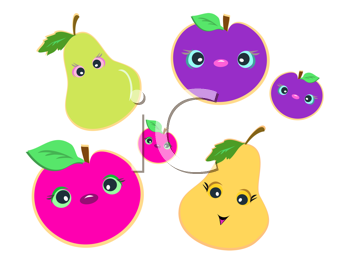 Royalty Free Clipart Image of Plums and Pears