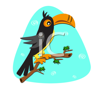 Royalty Free Clipart Image of a Toucan on a Branch