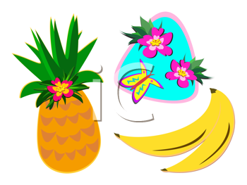 Royalty Free Clipart Image of a Mix of Tropical Fruit and Flowers