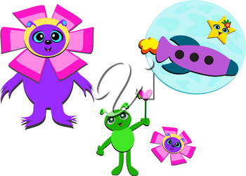 Royalty Free Clipart Image of Science Fiction Elements