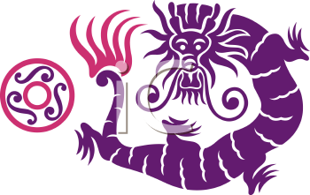 Royalty Free Clipart Image of an Oriental Dragon