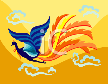 Royalty Free Clipart Image of an Oriental Phoenix Flying
