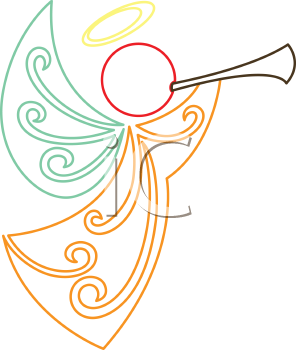 Royalty Free Clipart Image of a Female Angel Playing a Horn