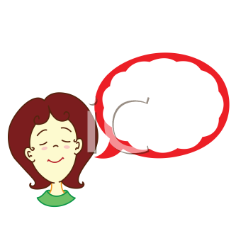 Royalty Free Clipart Image of a Girl with a Talking Balloon