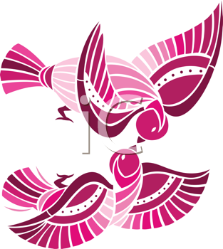 Royalty Free Clipart Image of  Playful Birds