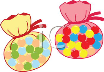 Royalty Free Clipart Image of Two Bags of Candy