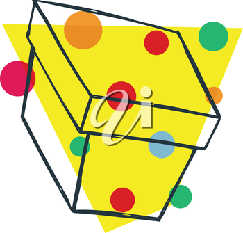 Royalty Free Clipart Image of a Box and Coloured Spots