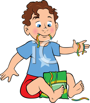 Royalty Free Clipart Image of a Boy Eating Candy