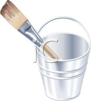 Royalty Free Clipart Image of a Brush in a Bucket