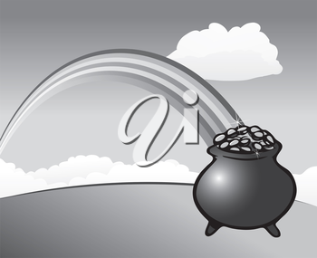 Royalty Free Clipart Image of a Pot of Gold at the End of a Rainbow