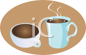 Royalty Free Clipart Image of a Cup and a Mug of Coffee