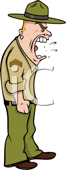 Royalty Free Clipart Image of a Drill Sergeant