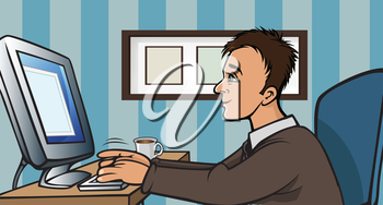 Royalty Free Clipart Image of a Man at a Computer