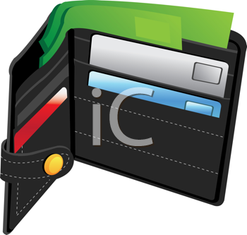 Royalty Free Clipart Image of a Wallet With Credit Cards