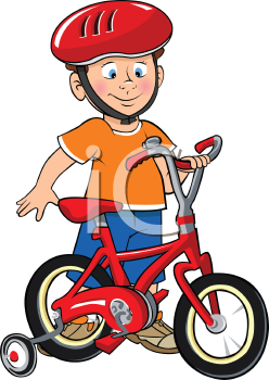 Royalty Free Clipart Image of a Boy Wearing a Helmet Preparing to Ride a Bike with Training Wheels