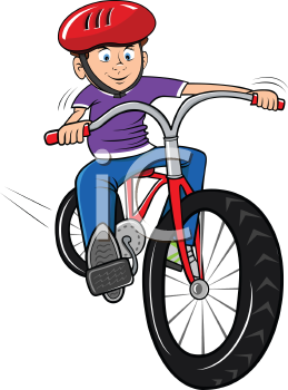 Royalty Free Clipart Image of a Boy Riding a Bike Wearing a Helmet