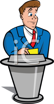Royalty Free Clipart Image of a Male Host Standing at a Podium