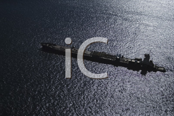 Royalty Free Photo of an Aerial View of a Tanker Ship