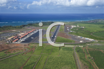 Royalty Free Photo of an Aerial View of Maui, Hawaii Airport with Pacific Ocean