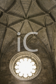 Royalty Free Photo of a Ceiling and Window in Jeronimos Monastery in Lisbon, Portugal