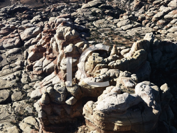 Royalty Free Photo of Rugged Rock Formations in Utah Canyonlands