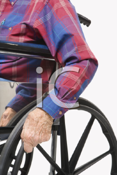 Royalty Free Photo of a Torso Shot of an Elderly Man Sitting in a Wheelchair