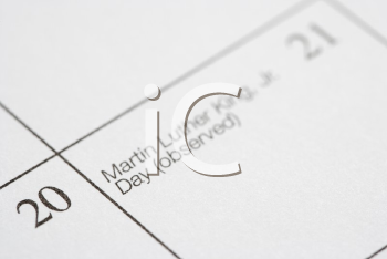 Royalty Free Photo of a Close-up of a Calendar Displaying Martin Luther King Junior Day