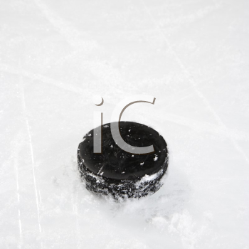 Royalty Free Photo of a Black Hockey Puck on an Ice Rink