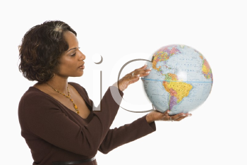 Royalty Free Photo of a Woman Holding a World Globe Out Between Her Hands