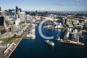 Royalty Free Photo of an Aerial View of Boats in Darling Harbour, Sydney, Australia