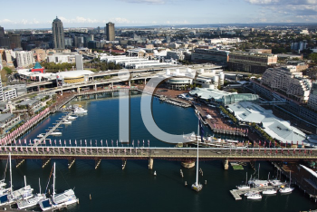 Royalty Free Photo of an Aerial View of Pyrmont Bridge and Boats in Darling Harbour, Sydney, Australia
