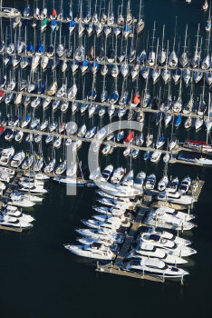 Royalty Free Photo of an an Aerial View of Boats Docked in Rushcutters Bay, Australia