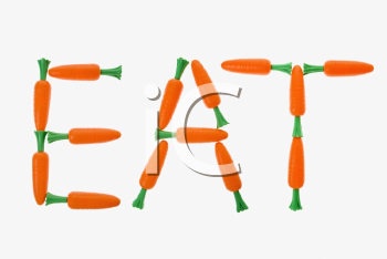 The word eat spelled out with carrots on white background.