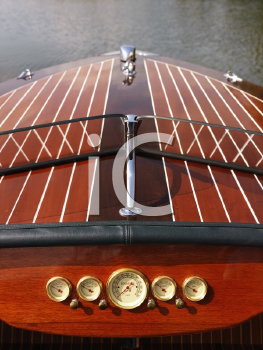 Royalty Free Photo of a Detail of a Wooden Boat Dashboard and Windshield