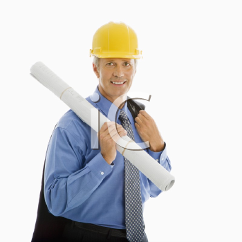 Royalty Free Photo of a Middle-Aged Businessman Holding Blueprints and Wearing a Hard Hat