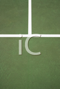 Royalty Free Photo of White Lines on a Green Concrete of a Tennis Court