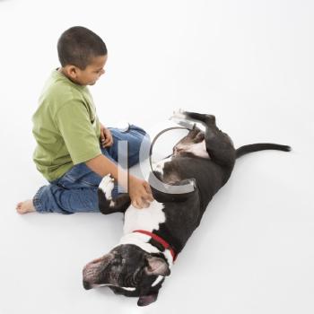 Royalty Free Photo of a Boy Petting a Dog on the Floor