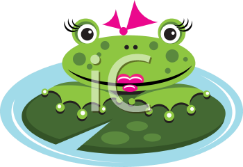 Royalty Free Clipart Image of a Female Frog in a Pond on a Lily Pad