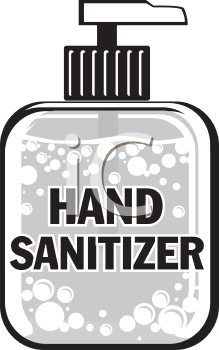 Royalty Free Clipart Image of a Bottle of Hand Sanitizer