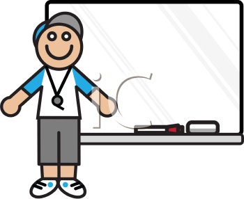 Royalty Free Clipart Image of a Male Coach Standing in Front of a Whiteboard