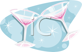 Royalty Free Clipart Image of Two Martini Glasses