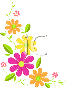Royalty Free Clipart Image of a Flower Corner