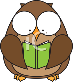 Royalty Free Clipart Image of an Owl With a Book